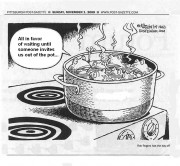 """All in favour of waiting until someone invites us out of the pot?"" Courtesy the Pittsburgh Post-Gazette"